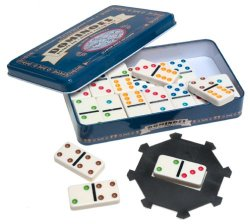 Pavilion Double Six Color Dot Dominoes Tin
